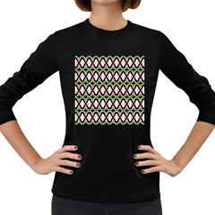 Abstract Pinocchio Journey Nose Booger Pattern Women s Long Sleeve Dark T-Shirts