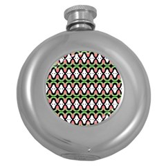 Abstract Pinocchio Journey Nose Booger Pattern Round Hip Flask (5 Oz)