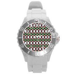Abstract Pinocchio Journey Nose Booger Pattern Round Plastic Sport Watch (L)