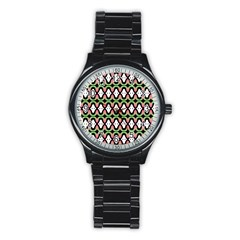 Abstract Pinocchio Journey Nose Booger Pattern Stainless Steel Round Watch
