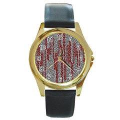 Abstract Geometry Machinery Wire Round Gold Metal Watch