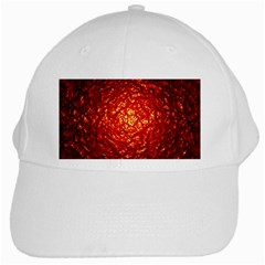 Abstract Red Lava Effect White Cap
