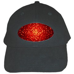 Abstract Red Lava Effect Black Cap