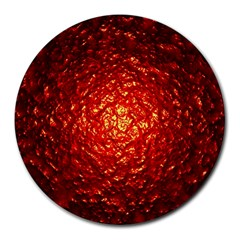 Abstract Red Lava Effect Round Mousepads