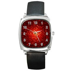 Abstract Red Lava Effect Square Metal Watch