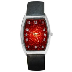 Abstract Red Lava Effect Barrel Style Metal Watch