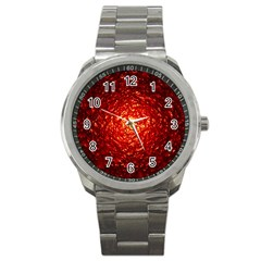 Abstract Red Lava Effect Sport Metal Watch