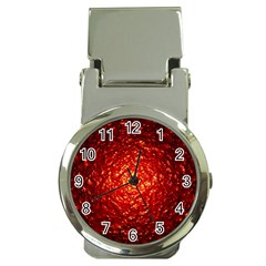 Abstract Red Lava Effect Money Clip Watches
