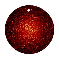Abstract Red Lava Effect Round Ornament (two Sides)
