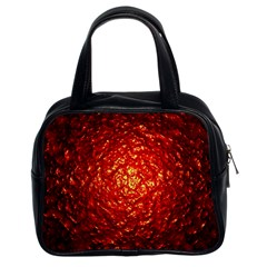 Abstract Red Lava Effect Classic Handbags (2 Sides)