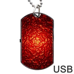 Abstract Red Lava Effect Dog Tag Usb Flash (two Sides)