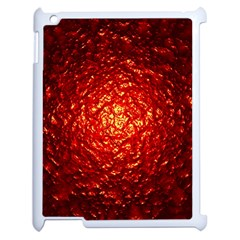 Abstract Red Lava Effect Apple iPad 2 Case (White)