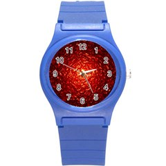 Abstract Red Lava Effect Round Plastic Sport Watch (s)