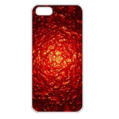 Abstract Red Lava Effect Apple iPhone 5 Seamless Case (White)