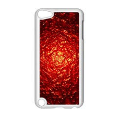 Abstract Red Lava Effect Apple iPod Touch 5 Case (White)