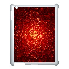 Abstract Red Lava Effect Apple iPad 3/4 Case (White)