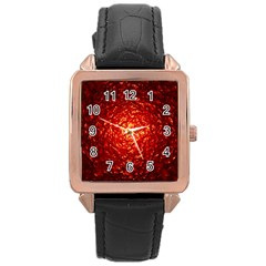 Abstract Red Lava Effect Rose Gold Leather Watch