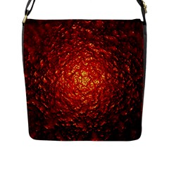 Abstract Red Lava Effect Flap Messenger Bag (L)