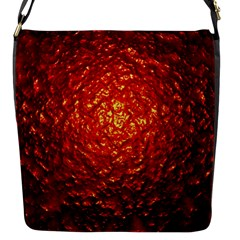 Abstract Red Lava Effect Flap Messenger Bag (S)
