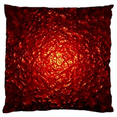 Abstract Red Lava Effect Large Flano Cushion Case (One Side)