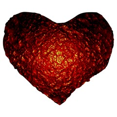 Abstract Red Lava Effect Large 19  Premium Flano Heart Shape Cushions