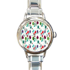 Lindas Flores Colorful Flower Pattern Round Italian Charm Watch