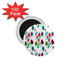 Lindas Flores Colorful Flower Pattern 1 75  Magnets (100 Pack)