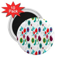 Lindas Flores Colorful Flower Pattern 2 25  Magnets (10 Pack)