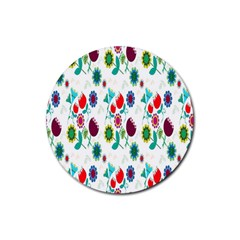 Lindas Flores Colorful Flower Pattern Rubber Round Coaster (4 pack)