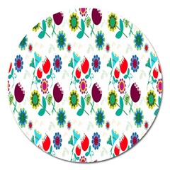 Lindas Flores Colorful Flower Pattern Magnet 5  (Round)
