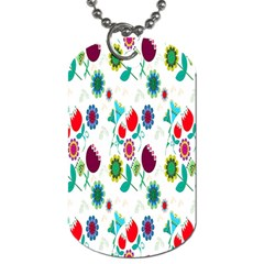Lindas Flores Colorful Flower Pattern Dog Tag (Two Sides)