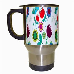 Lindas Flores Colorful Flower Pattern Travel Mugs (white)
