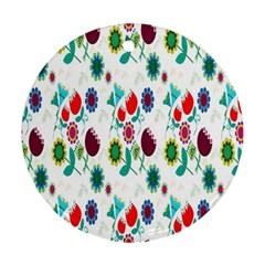 Lindas Flores Colorful Flower Pattern Round Ornament (Two Sides)