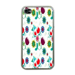 Lindas Flores Colorful Flower Pattern Apple iPhone 4 Case (Clear)