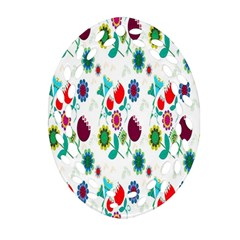 Lindas Flores Colorful Flower Pattern Oval Filigree Ornament (two Sides)