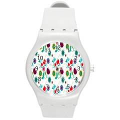 Lindas Flores Colorful Flower Pattern Round Plastic Sport Watch (M)