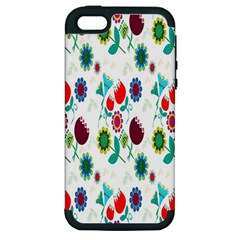 Lindas Flores Colorful Flower Pattern Apple iPhone 5 Hardshell Case (PC+Silicone)