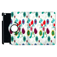 Lindas Flores Colorful Flower Pattern Apple Ipad 3/4 Flip 360 Case
