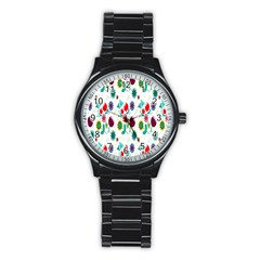 Lindas Flores Colorful Flower Pattern Stainless Steel Round Watch