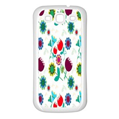 Lindas Flores Colorful Flower Pattern Samsung Galaxy S3 Back Case (White)