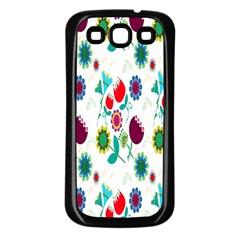 Lindas Flores Colorful Flower Pattern Samsung Galaxy S3 Back Case (Black)