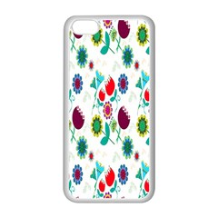 Lindas Flores Colorful Flower Pattern Apple iPhone 5C Seamless Case (White)