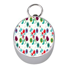 Lindas Flores Colorful Flower Pattern Mini Silver Compasses