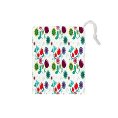 Lindas Flores Colorful Flower Pattern Drawstring Pouches (Small)