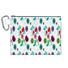 Lindas Flores Colorful Flower Pattern Canvas Cosmetic Bag (XL)