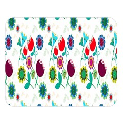 Lindas Flores Colorful Flower Pattern Double Sided Flano Blanket (large)