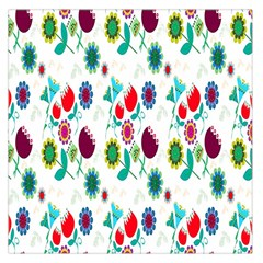Lindas Flores Colorful Flower Pattern Large Satin Scarf (square)