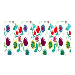 Lindas Flores Colorful Flower Pattern Satin Wrap