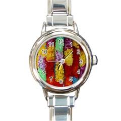 Colorful Hawaiian Lei Flowers Round Italian Charm Watch