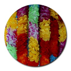 Colorful Hawaiian Lei Flowers Round Mousepads